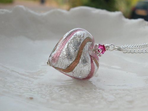 Murano Glass Heart Necklace (Murano Aventurina Glass Heart Necklace)