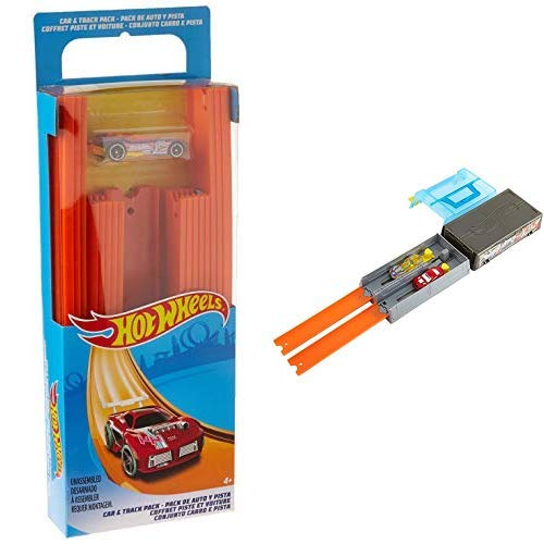 Hot Wheels Track Builder Straight Track with Car AND Hot Wheels Race Case Track Set