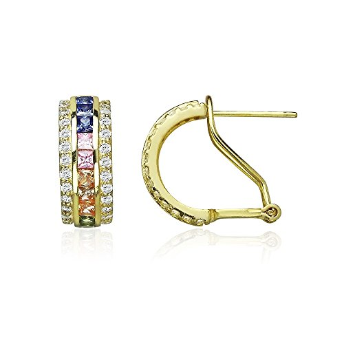 Yellow Gold Flashed Sterling Silver Multi-Color Cubic Zirconia Channel-Set Half Hoop Earrings