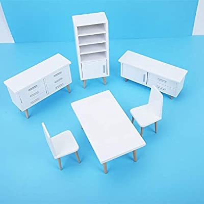 wosume Furniture Toy, 6pcs 1:12 Mini Wooden Living Room Dining Room Furniture Set for Dollhouse Creative Birthday Gifts for Kids Home Decor Women Girl: Home & Kitchen