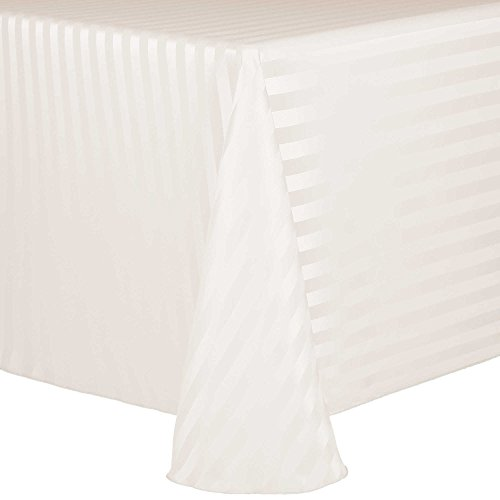 Ultimate Textile Satin-Stripe 52 x 70-Inch Oval Tablecloth Ivory Cream ()