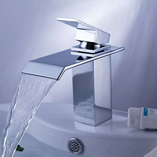 Handles Chrome Waterfall (Yodel Single Handle Waterfall Bathroom Vanity Sink Faucet (Chrome))