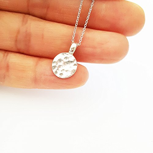 Silver Hammered Disk (Sterling Silver Disc Necklace ,Hammered Circle Necklace ,Simple Layered Necklace)