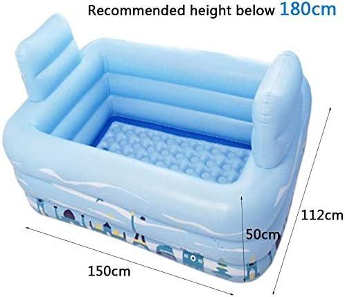 KJRJCQ 大人電動エアーポンプと2枕ホームスパバス付ポータブル折りたたみブローアップバス浴槽肥厚PVCバスタブのためのインフレータブルバスチューブ (Size : 160×124×55cm)