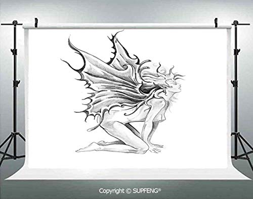 - Photography Background Artistic Pencil Drawing Art Print Nude Fairy Opening its Angel Wings 3D Backdrops for Photography Backdrop Photo Background Studio Prop