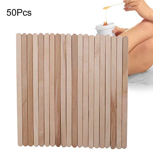 50 Pieces Wax Applicator Sticks Wood Waxing Craft Sticks Spatulas Applicators for Hair Removal Eyebrow Body for Hair Removal on Nose, Bikini, Lip - Waxing Stick for Salon and Crafting (Good Places To Get Your Eyebrows Waxed)