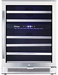Vinotemp VNTVT-46-2Z-SSDST 46-Bottle Dual-Zone Connoisseur Series Wine Cooler, Stainless Steel