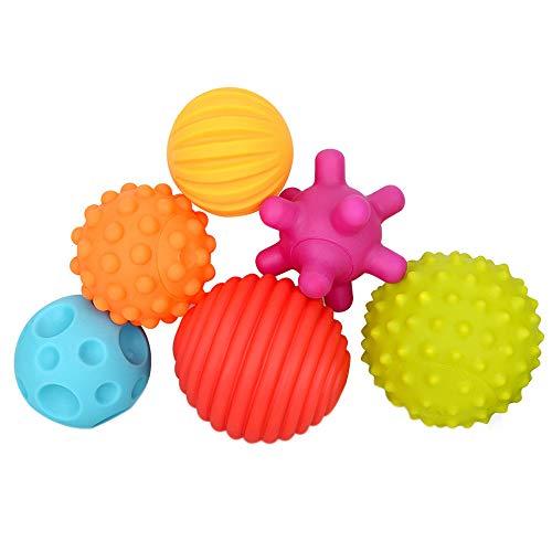 Leoy88 6Pcs Bath Toy Baby Massage Sensory Development Educational Ball Sound Set Toy