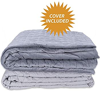 Image of FRK Weighted Blanket 12 lbs(48''x72'', Twin Size, Grey), Cooling Weighted Blanket for Adults, 100% Cotton Material with Glass Beads FRK B085NS2B34 Weighted Blankets