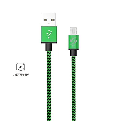 StyleTech Inc. Aluminum Nylon Braided Series 3 Feet Micro-USB Syncing/Charging Data Cable for Android, Samsung, HTC, Windows, Motorola, Tablets, etc. (1.) Green)