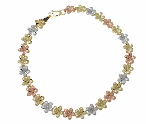 Arthur's Jewelry Solid 14K Yellow White Rose Tricolor Gold Hawaiian Plumeria Flower Bracelet 7mm 7