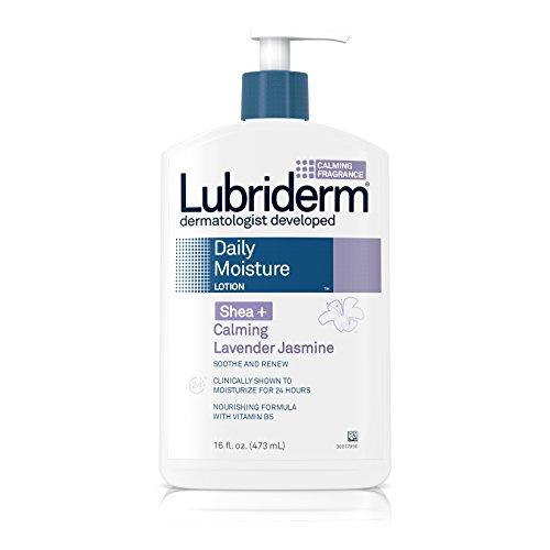 Lubriderm Daily Moisture Lotion for Dry Skin, Enriched with Nourishing Shea Butter, Vitamin B5, and Calming Lavender Jasmine, Non-Greasy 16 fl. oz (Pack of -