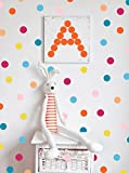 Polka Dot Wall Decals Bright Multicolor(220 2 inch Decals) Easy Peel and Stick Matte Finish Removable Decals Safe on Painted Walls