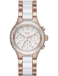 DKNY Womens Chambers Quartz Stainless Steel and Ceramic Casual Watch, Color:Rose Gold-Toned (Model: NY2498)