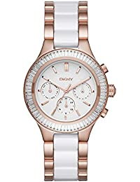 Women's 'Chambers' Quartz Stainless Steel and Ceramic Casual Watch, Color:Rose Gold-Toned (Model: NY2498)
