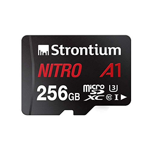 Strontium Nitro 256GB Micro SDXC Memory Card 100MB/s A1 UHS-I U3 Class 10 w/ Adapter High Speed For Smartphones Tablets Drones Action Cams (SRN256GTFU3A1A)