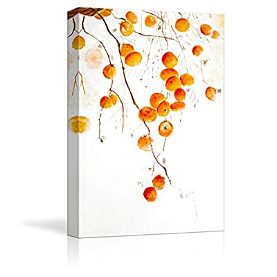 Elegant Technique, Created By a Professional Artist, Tangerine Fruits on The Tree Branch Watercolor Painting Style Art Reproduction