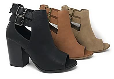 MVE Shoes Faux Nubuck Leather Peep Toe Cut Out Side Buckle Stacked Heel Ankle Bootie, Black, 55 M US