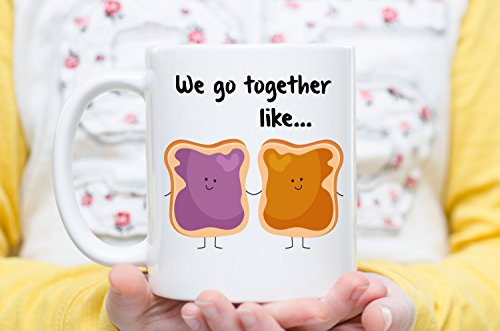 We Go Together Like Peanut Butter And Jelly, PB+J Mug, Couple Mug, Meant to Be Together, Boyfriend, Girlfriend Gift, Anniversary Mug, Valentine's Day Gifts, Coffee Cups and Mugs, 11oz 15oz
