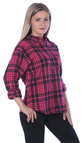 Beverly Rock Womens Brushed Cotton Flannel Plaid Button Down Shirt