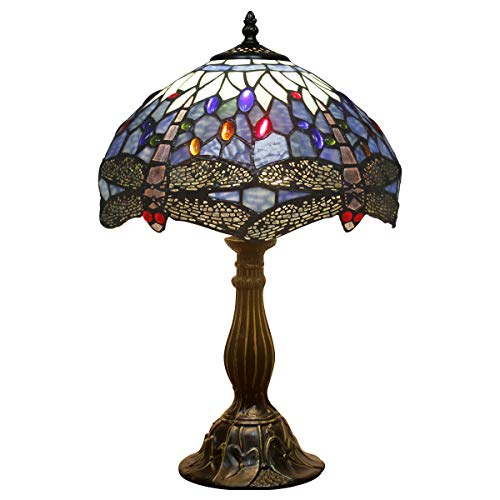 Tiffany Lamp Sea Blue Stained Glass and Crystal Bead Dragonfly Style Table Lamps Height 18 Inch for Coffee Table Living Room Antique Desk Beside Bedroom S004 WERFACTORY ()