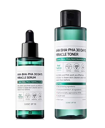 Somebymi AHA BHA PHA Miracle Set Anti-acne Exfoliation Hydration Brightening (Toner + Serum)