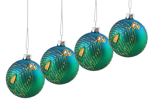 Jeweled Peacock Feather Hanging Christmas Ornaments - 4 Pack