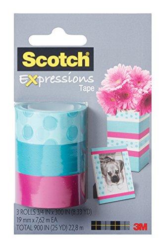 Scotch Expressions Magic Tape/ 3/4 x 300 Inches/ Circles/ Blue/ Pink/ 3-Rolls/Pack (C214-3PK-3) Photo #2