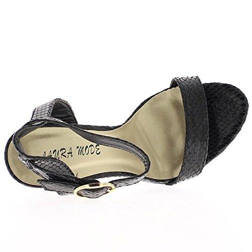 Sandalias de tacón de 11 cm aspecto de piel de serpiente gris