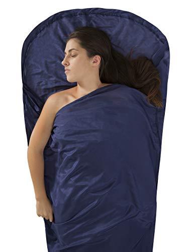 (Sea to Summit Premium Blend Silk/Cotton Mummy Travel Liner with Hood,  82 x 36 inch , Navy Blue)