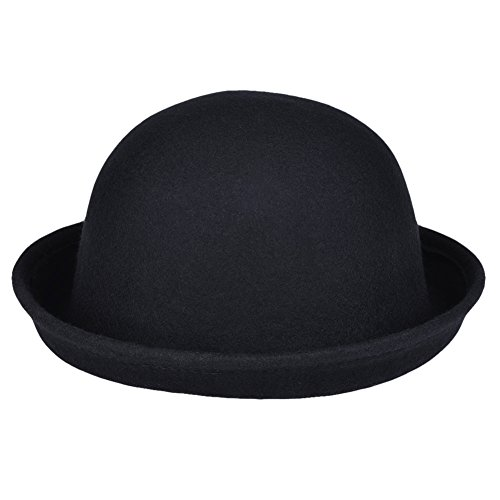 Vbiger Women Woolen Roll-up Brim Fedora Bowler Hat (Black)