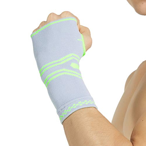 (Neotech Care Hand Palm Brace (1 Unit) with Silicone Gel Pad Insert & Thumb Hole - Elastic & Breathable Knitted Fabric Compression Sleeve - Grey Color (Size)