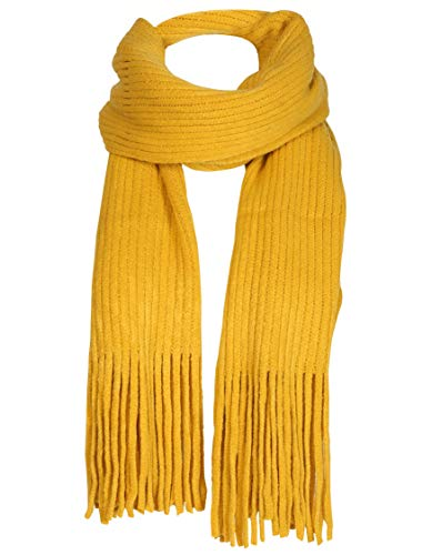 Women Men Winter Thick Cable Knit Wrap Chunky Warm Scarf All Colors Fringe Mustard
