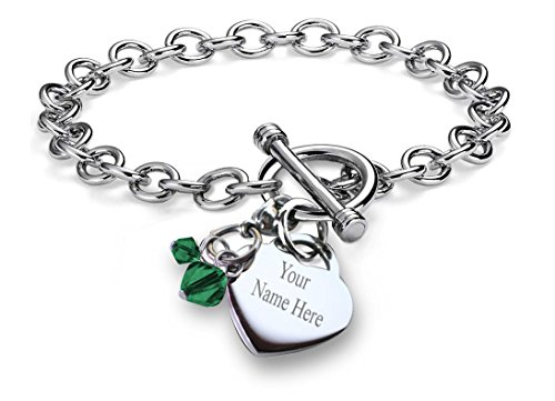 Crystal Heart Toggle (CoolRings Charm Bracelet Simulated Birthstone Crystal Charm Heart Toggle Stainless Steel 7.5