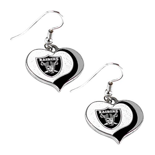 aminco NFL Oakland Raiders Women's Sports Team Logo Swirl Heart Glitter Earring Set, One Size, Multicolor