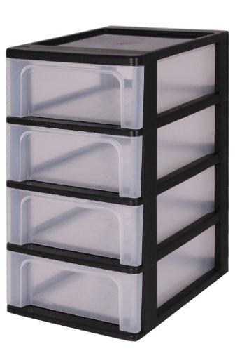 Iris 144004 A-4 Tischschubladenbox mit 4 Schubladen mit 4 Schübeelement ohne Rollen, Bürobox, OCH-2004