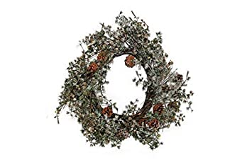 Kranz aus Zweigen D=30cm Vintage weiss gewischt rund Wurzelkranz Türkranz Wand