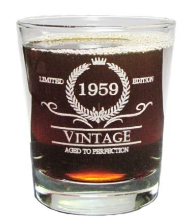 Vintage 1959 Special Edition Aged To Perfection - 60th Birthday - Engraved Hi-Ball Rocks Glass - 13 Oz - Permanently Etched - Fun & Unique Gift! (Perfection Highball)