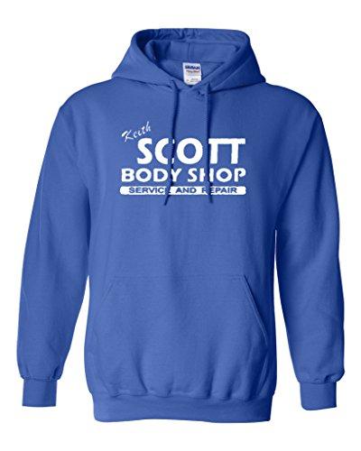 (Keith Scott One Tree Hill Body Shop North Carolina TV Novelty Sweatshirt Hoodie (Medium, Royal Blue w/White))