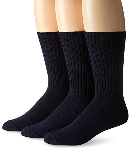 Calvin Klein Men's 3 Pack Cotton Rich Casual Rib Sock, Navy, Shoe Size 7-12 ()