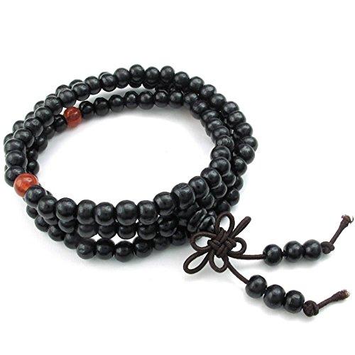 SODIAL(R) Jewelry Men Bracelet, 8mm Tibetan Buddhist Sandalwood Beads Prayer Bead Chain, Wood, Black