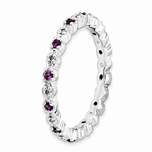 ICE CARATS 925 Sterling Silver Purple Amethyst Diamond Band Ring Size 7.00 Stone Stackable Gemstone Birthstone February Fine Jewelry Gift For Women Heart by ICE CARATS (Image #6)