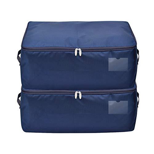iwill CREATE PRO Dark Blue Fabric Storage Bins for Underbed Storage Organization, Pack of 2
