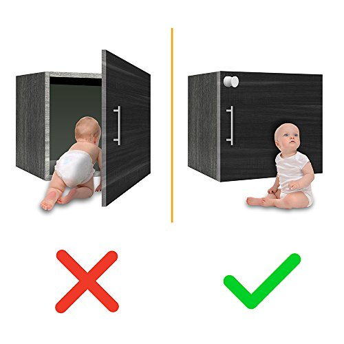 Skyla Homes - Magnetic Baby Locks   No Tools Needed - 3M Adhesive   Amazing for Baby Proofing Kitchen & Child Locks   Quality Design   Child Safety   Cabinet Locks   White (12-Pack) by Skyla Homes (Image #7)