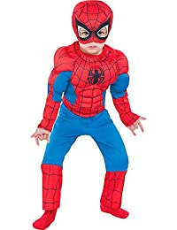 Classic Spider-Man Muscle Halloween Costume for Toddler Boys, Includes Headpiece