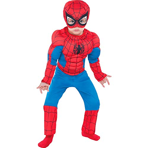 Party City Classic Spider-Man Muscle Halloween Costume for Toddler Boys, 3-4T, Includes Headpiece -