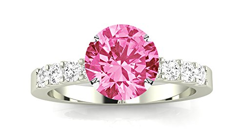 14K White Gold Classic Prong Set Diamond Engagement Ring with a 1 Carat Pink Sapphire Heirloom Quality Center