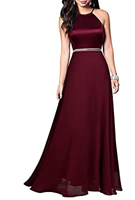 Mmondschein Women's Vintage Halter Wedding Bridesmaid Chiffon Long Dress