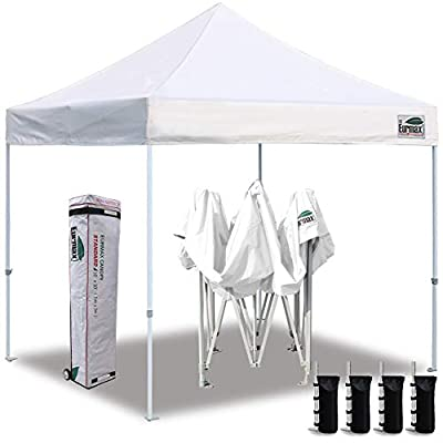 Eurmax 10'x10' Ez Pop Up Canopy Tent Commercial Instant Canopies with Heavy Duty Roller Bag