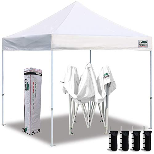 Eurmax 10'x10' Ez Pop Up Canopy Tent Commercial Instant Canopies with Heavy Duty Roller Bag,Bonus 4 Canopy Sand Bags (White) (Best Canopy Tent For Craft Shows)